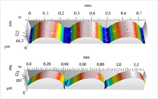 Figure 2 : Rendering of surface measurements from side (above) and angled bevel (below) with 254μm layers.