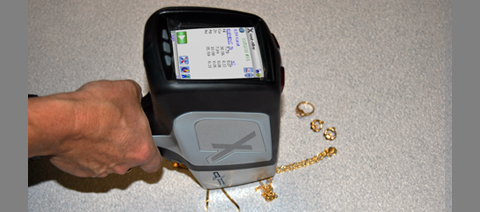 DELTA Classic Handheld XRF Analyzer Testing Gold Jewelry