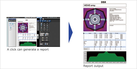 DSX500 Microscope Report Function Screenshot