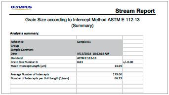 Resultados de uma análise ASTM E112