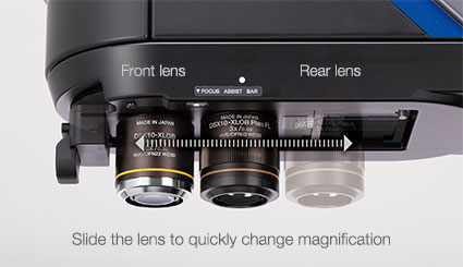 Front lens, Rear lens, Slide the lens to quickly change magnification