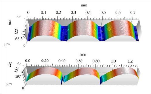 図2:積層ピッチ254µmにおける側面(上)と斜面(下)の表面測定結果のレンダリングイメージ