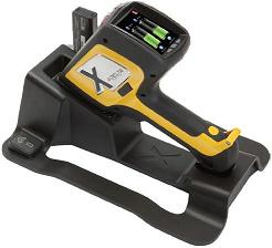 Delta Handheld XRF Analyzer in docking station