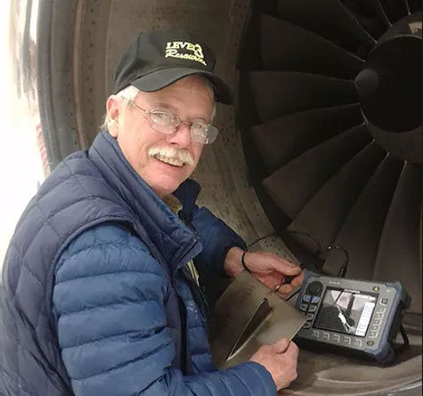Aircraft inspection using eddy current testing equipment