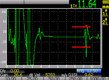 60 meters (200 feet) -- excitation pulse and backwall echo are both doubled, thickness reading is offset by 1.64 mm.
