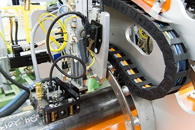 ERW In-Line system showing the circular axis for automatic weld tracking capability