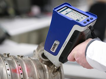 Component material testing with XRF